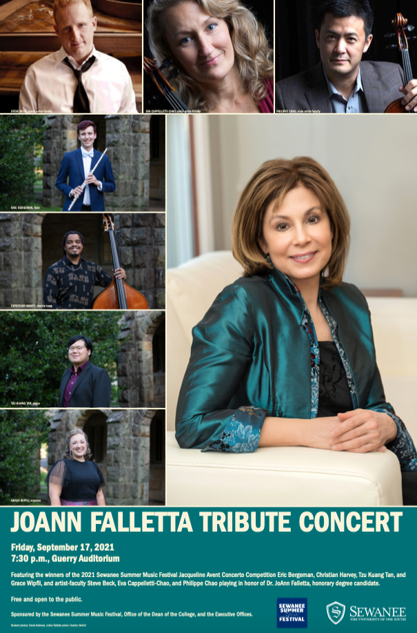 A poster for the JoAnn Falletta Tribute Concert at Sewanee featuring headshots of Falletta and the performers.